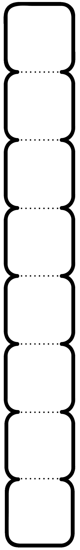 8'li Köşeleri yuvarlatılmış kare not yazma şablonu