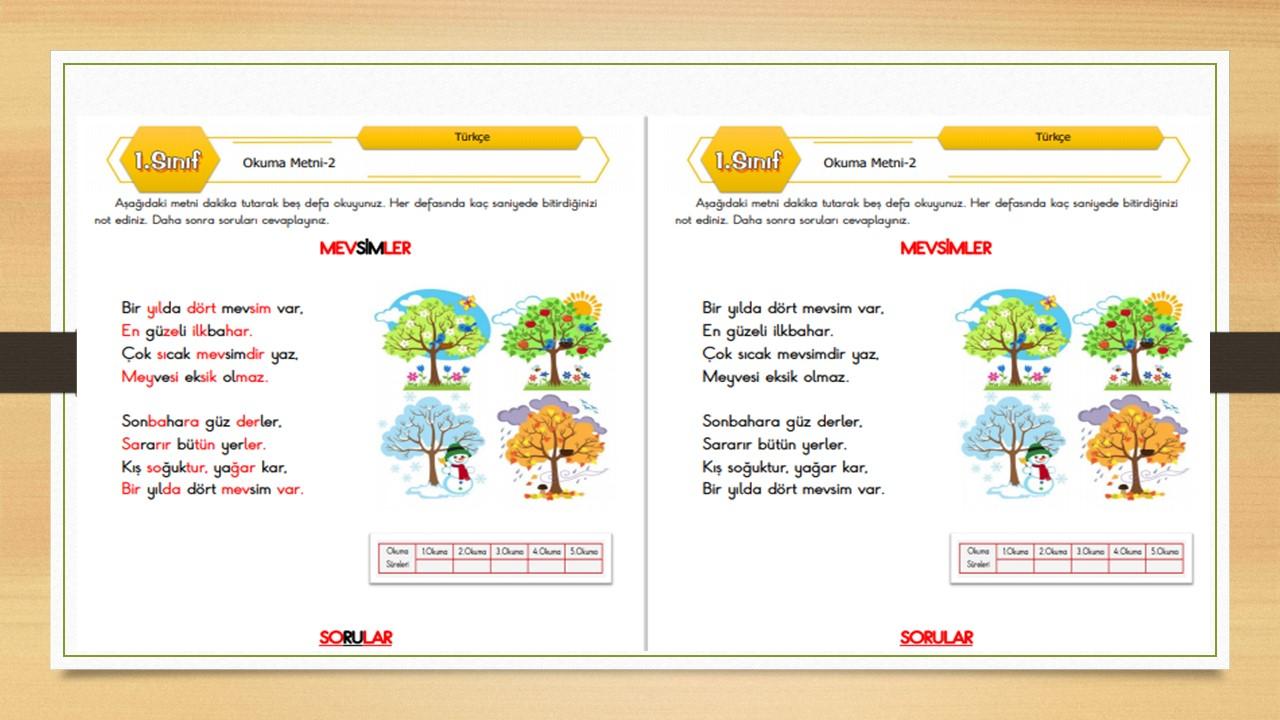 1.Sınıf Okuma Metni-2 (Mevsimler)
