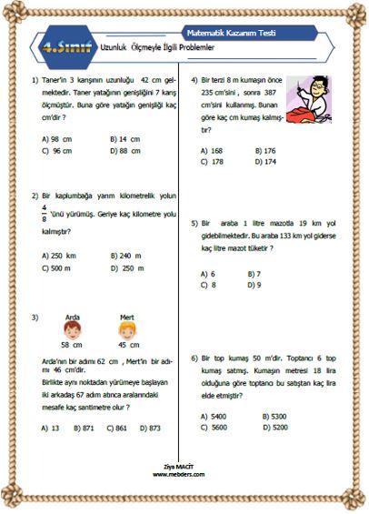 4. Sınıf Matematik Uzunluk Ölçmeyle İlgili Problemler Kazanım Testi