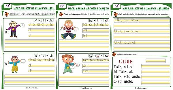 1.Sınıf İlk Okuma Ü Sesi Birleştirme Etkinliği