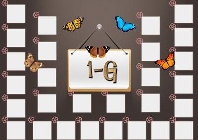Model 48, 1G şubesi için kelebekli, fotoğraf eklemeli kapı süslemesi - 28 öğrencilik