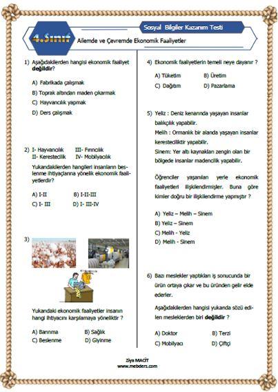 4. Sınıf Sosyal Bilgiler Ailemde ve Çevremde Ekonomik Faaliyetler  Kazanım Testi