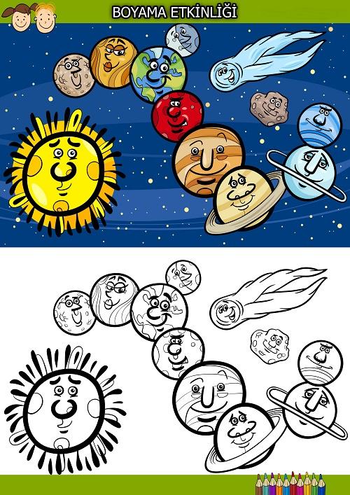 Sevimli gezegenler boyama etkinliği