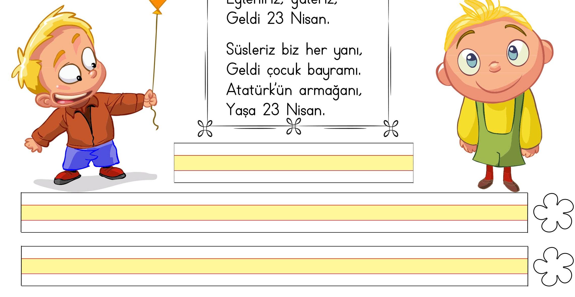 1 Sinif Turkce Oku Yaz Ve Degerlendir Etkinligi 2 23 Nisan