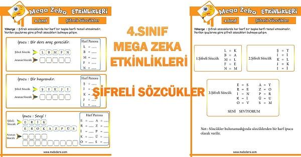 4.Sınıf Mega Zeka Etkinliği - Şifreli Sözcükler