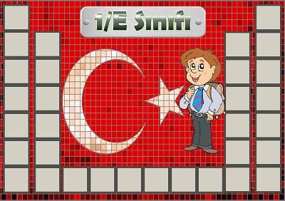 Model 54, 1E şubesi için Türk bayraklı fotoğraf eklemeli kapı süslemesi - 32 öğrencilik