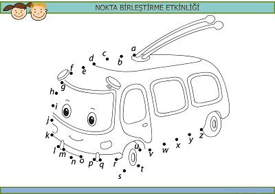 Sevimli minibüs harfli nokta birleştirme etkinliği