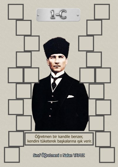 Model 15, 1C şubesi için Atatürk temalı, fotoğraf eklemeli kapı süslemesi - 22 öğrencilik