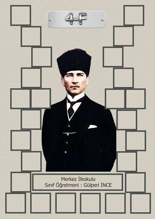 Model 15, 4F şubesi için Atatürk temalı, fotoğraf eklemeli kapı süslemesi - 26 öğrencilik