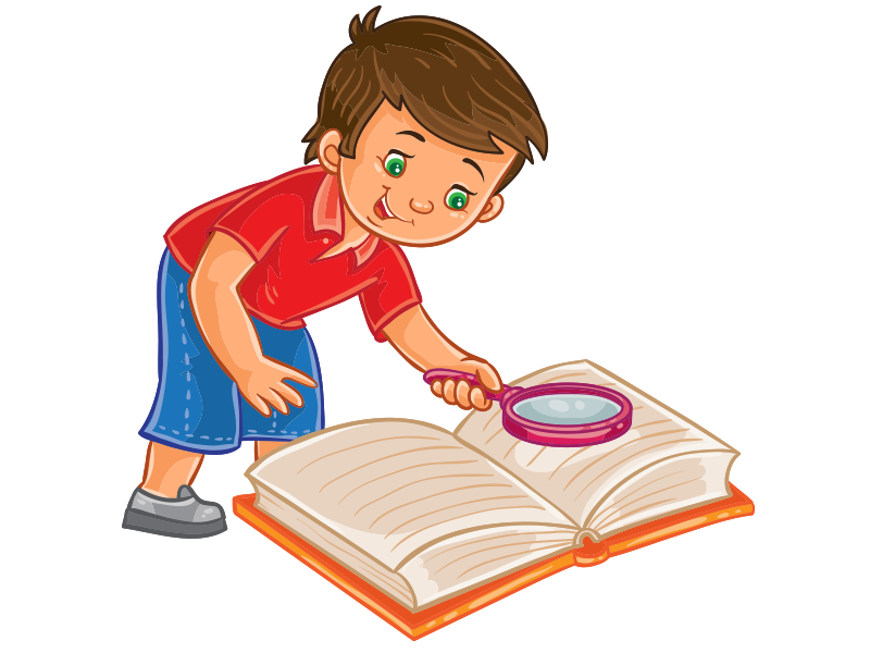 Clipart kitap üzerinde araştırma yapan erkek çocuk resmi