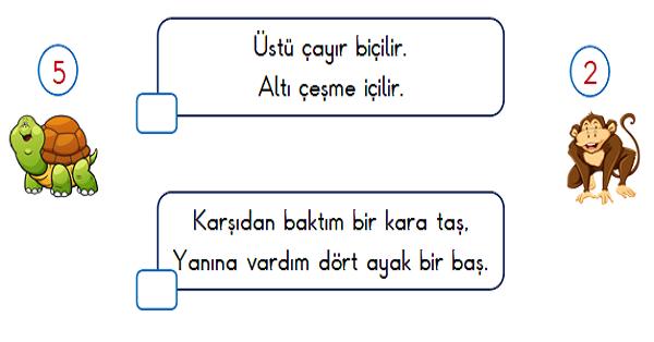 1.Sınıf Türkçe Okuma ve Anlama (Bilmeceler) 5