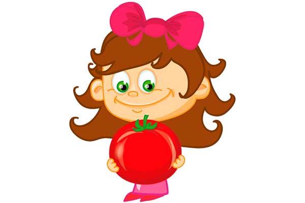 Clipart domatesli kız çocuğu resmi