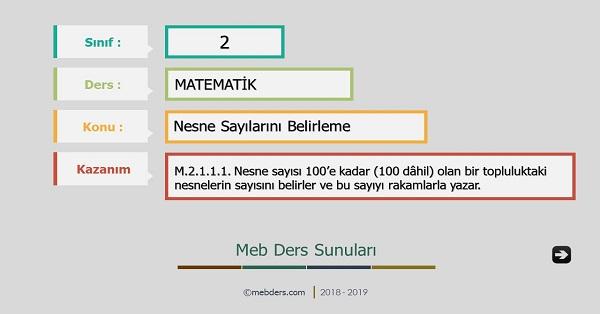2.Sınıf Matematik Nesne Sayılarını Belirleme Sunusu