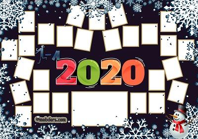 1A Sınıfı için 2020 Yeni Yıl Temalı Fotoğraflı Afiş (26 öğrencilik)
