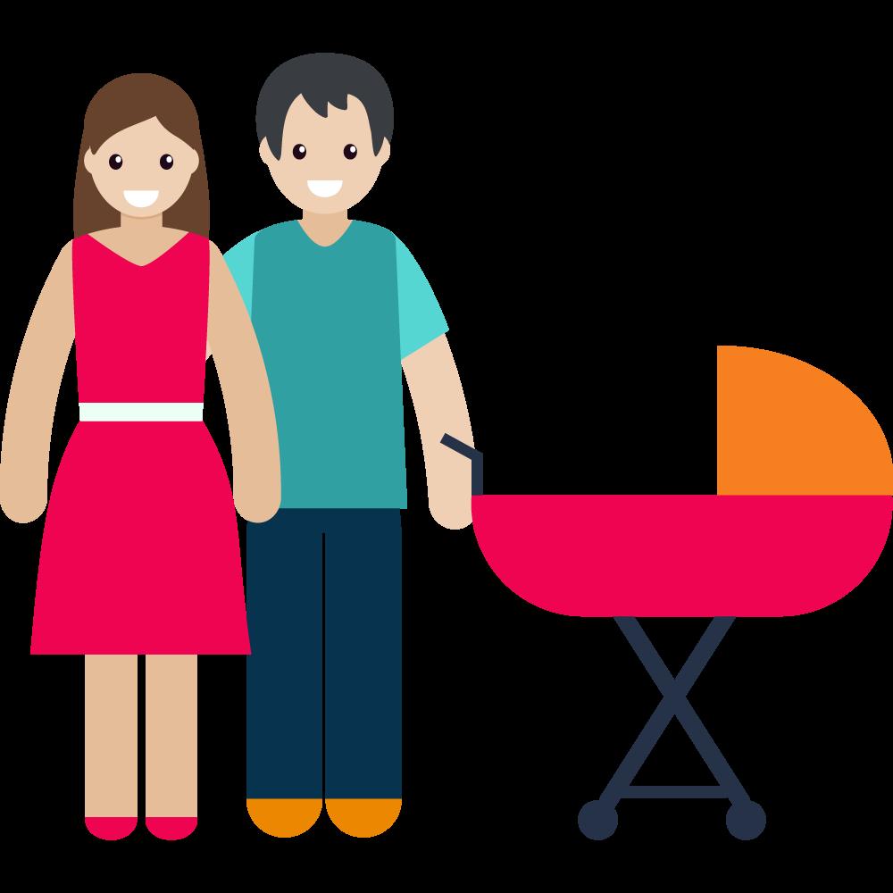 Clipart bebek arabasıyla anne ve baba resmi