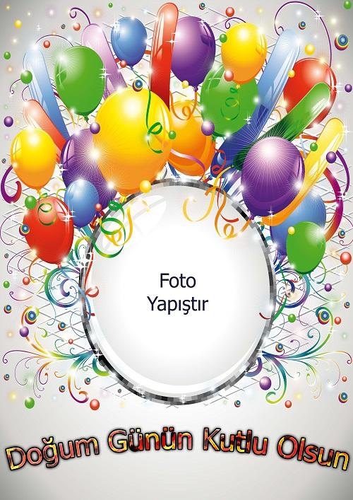 Doğum günü kutlama için fotoğraf eklemeli afiş