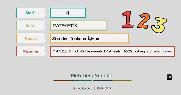4.Sınıf Matematik Zihinden Toplama İşlemi Sunusu