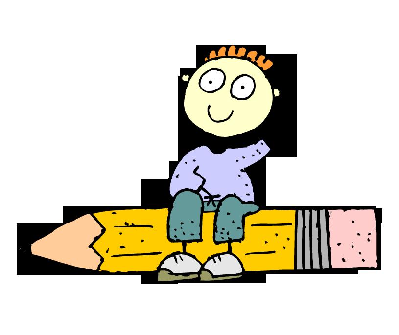 Clipart kalem üzerine oturmuş çizgi çocuk resmi png