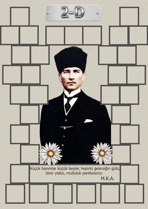 Model 15, 2D şubesi için Atatürk temalı, fotoğraf eklemeli kapı süslemesi - 35 öğrencilik