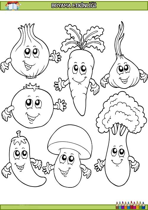 Sevimli sebzeler boyama etkinliği