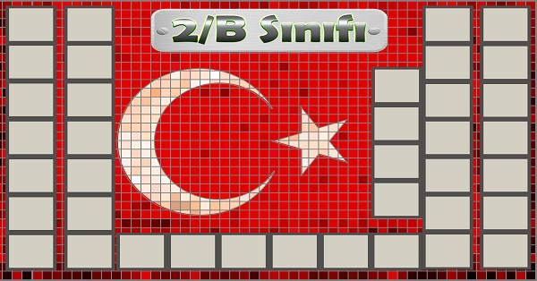 Model 54, 2B şubesi için Türk bayraklı fotoğraf eklemeli kapı süslemesi - 38 öğrencilik