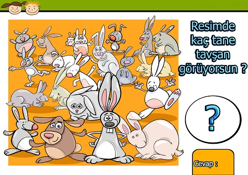 Resimde kaç tane tavşan var ? Eğlenceli matematik etkinliği