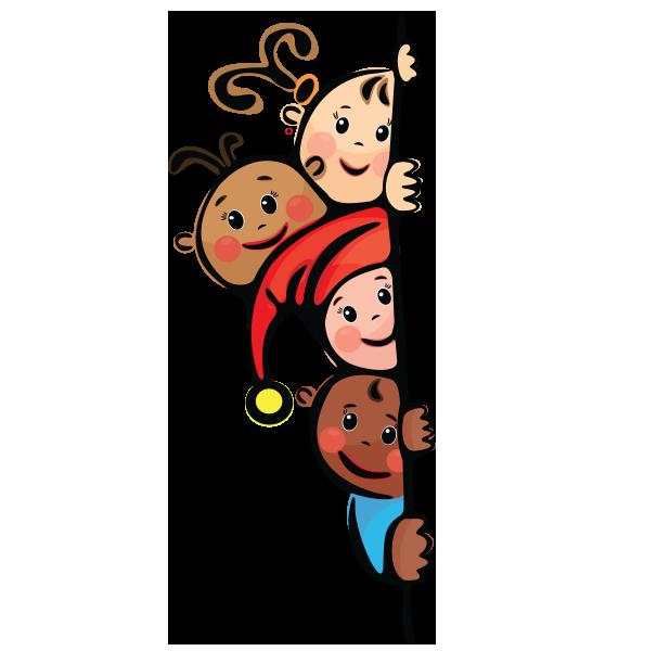 Şeffaf pano yanında gizlenmiş çocuklarla çerçeve resmi