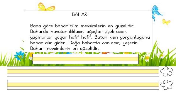 1 Sinif Turkce Oku Yaz Ve Degerlendir Etkinligi 6 Bahar Metni