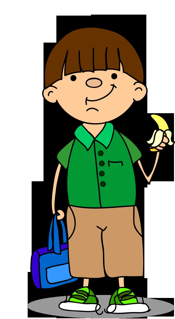 Clipart elinde muzla erkek çocuk resmi png