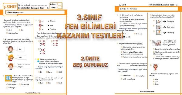 3.Sınıf Fen Bilimleri Kazanım Testi - 2.Ünite - Beş Duyumuz