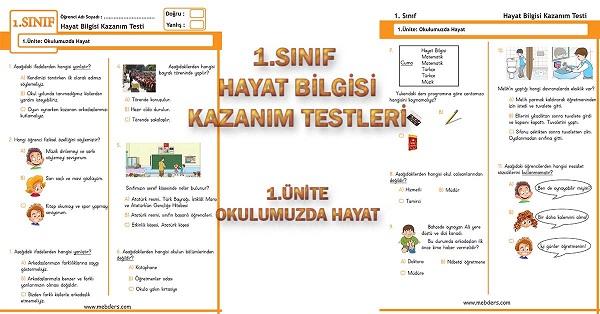 1.Sınıf Hayat Bilgisi Kazanım Testi - 1.Ünite - Okulumuzda Hayat
