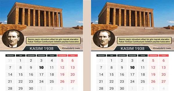 10 Kasım 1938 Atatürk Takvimi