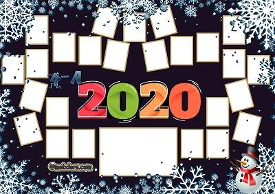 4A Sınıfı için 2020 Yeni Yıl Temalı Fotoğraflı Afiş (25 öğrencilik)