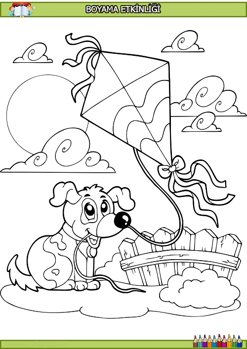 Uçurtma Tutan Köpek Boyama Etkinliği Meb Ders
