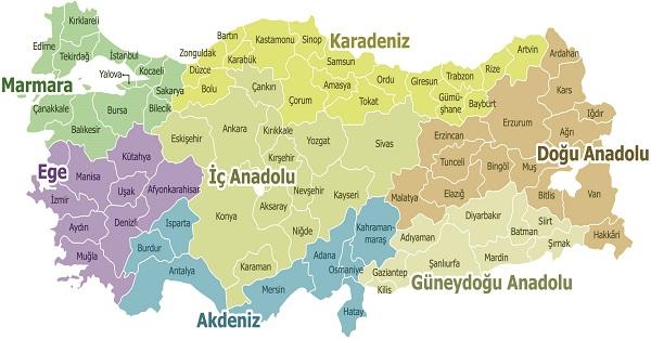Illeri Ve Bolgeleri Gosteren Turkiye Haritasi Meb Ders