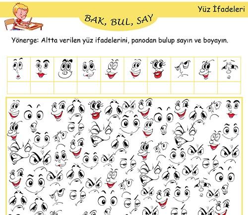 Bak, Bul, Say Etkinliği - Yüz İfadeleri