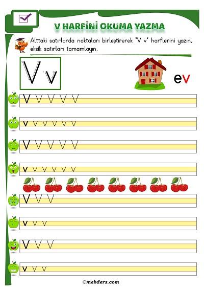 1.Sınıf İlkokuma V Sesi Okuma Yazma Etkinliği