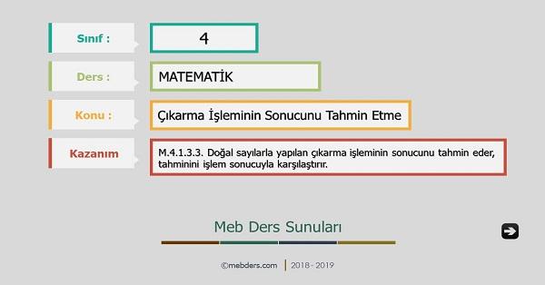 4.Sınıf Matematik Çıkarma İşleminin Sonucunu Tahmin Etme Sunusu