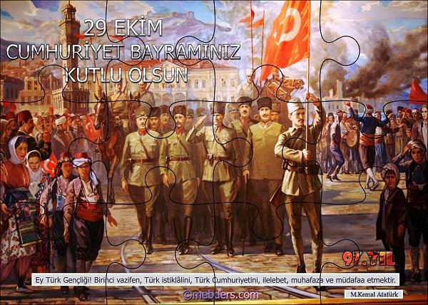 Cumhuriyet Panosu Puzzle Poster - 97.Yıl (12 Parça)