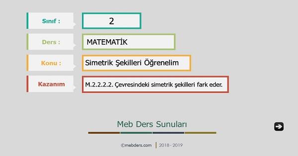 2.Sınıf Matematik Simetrik Şekilleri Öğrenelim Sunusu