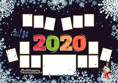 2H Sınıfı için 2020 Yeni Yıl Temalı Fotoğraflı Afiş (14 öğrencilik)