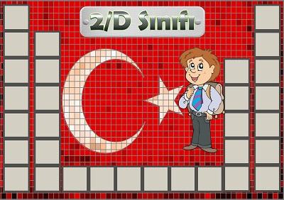 Model 54, 2D şubesi için Türk bayraklı fotoğraf eklemeli kapı süslemesi - 31 öğrencilik