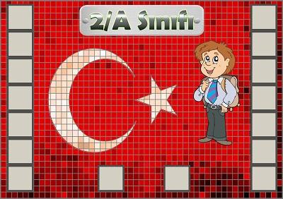 Model 54, 2A şubesi için Türk bayraklı fotoğraf eklemeli kapı süslemesi - 16 öğrencilik