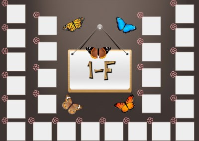 Model 48, 1F şubesi için kelebekli, fotoğraf eklemeli kapı süslemesi - 26 öğrencilik