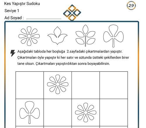 Kes Yapıştır Sudoku Etkinliği 29 (Seviye 1)