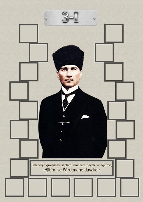 Model 15, 3I şubesi için Atatürk temalı, fotoğraf eklemeli kapı süslemesi - 22 öğrencilik