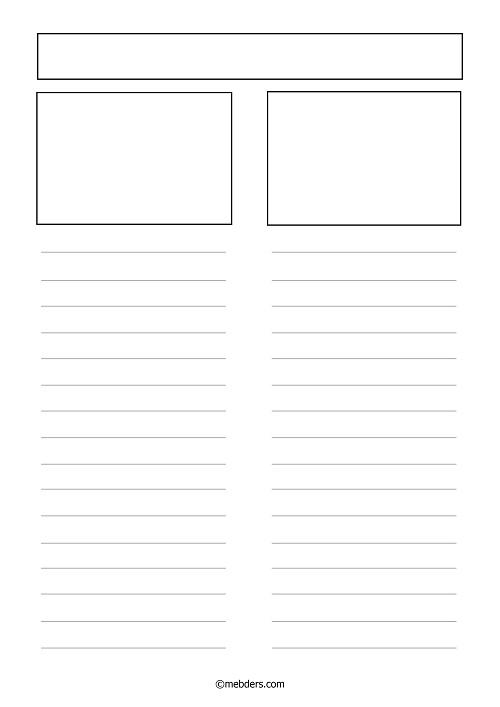 Üstte 2 küçük resim alanı ile sayfayı ikiye bölen yazı şablonu
