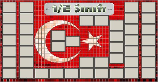 Model 54, 1E şubesi için Türk bayraklı fotoğraf eklemeli kapı süslemesi - 45 öğrencilik