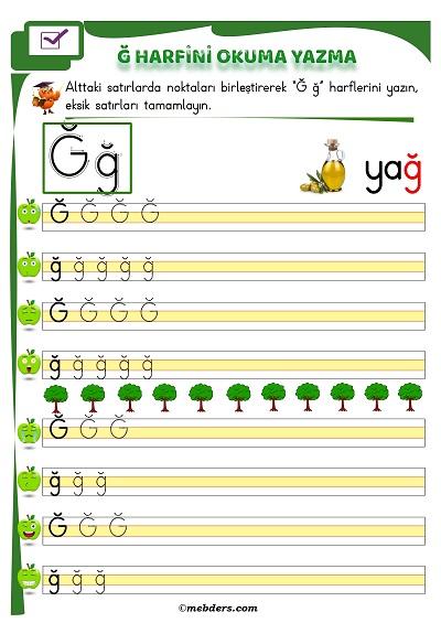 1.Sınıf İlkokuma Ğ Sesi Okuma Yazma Etkinliği