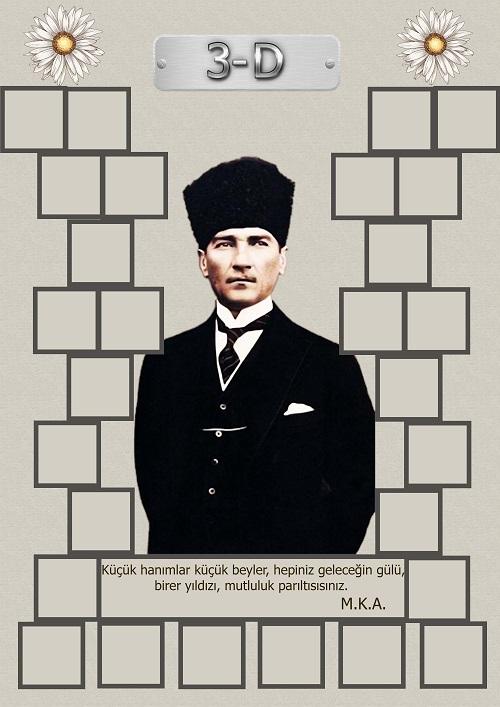 Model 15, 3D şubesi için Atatürk temalı, fotoğraf eklemeli kapı süslemesi - 28 öğrencilik